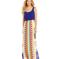 B. Darlin Blouson Tribal-Print Maxi Dress | Dillards.com