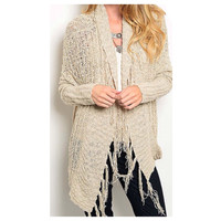 """Must Have"" L/S Knit Fringe Beige Cardigan"