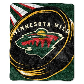 """Wild   OFFICIAL National Hockey League, """"Puck"""" 50""""x 60"""" Sherpa Throw  by The Northwest Company"""