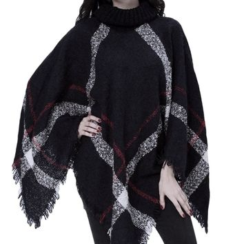 Women's Oversized Black/Red Turtle Neck Knit Plaid Poncho Jacket