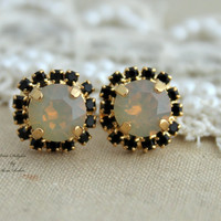 Black and Gray opal Rhinestone stud swarovski Crystal,christmas gift,bridesmaids jewelry - 14k Gold plated post earrings
