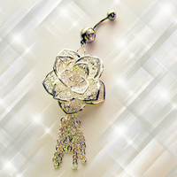SALE---Belly Ring, 925 Sterling Silver Shimmery Rose and Dangling Chain, Belly Button Jewelry, for Her