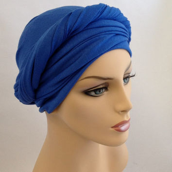 Royal Blue Cobalt Turban Dreads Wrap, Head Wrap, Alopecia Scarf, Chemo Hat, Boho Gypsy Tribal, One Piece Wrap