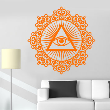 Vinyl Decal Wall Masonic Symbol Eye Of Providence Mason Triangle Eye Stickers Unique Gift (907ig)