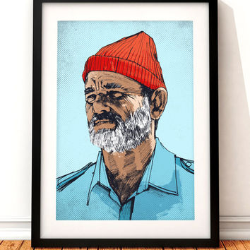 Steve Zissou portrait print, Bill Murray print, Wes Anderson print, The Life Aquatic, film print, Steve Zissuo, Bill Murray portrait