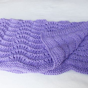 Purple Baby Blanket, Hand Knit Warm Winter Throw, Baby Girl Gift, Chunky Knit Ripple Wave Toddler Afghan, Stroller Blanket READY TO SHIP