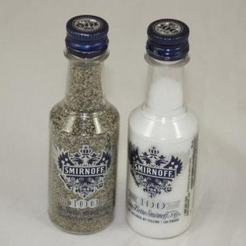 Mini Liquor Bottle Salt & Pepper Shakers Upcycled from Smirnoff Triple Distilled 21 Vodka