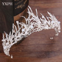 YXPH Bride Wedding Headdress Royal Ancient Gold Branches Women Crown Bride Queen Crown Wedding Accessories Crystal Bridal Crown