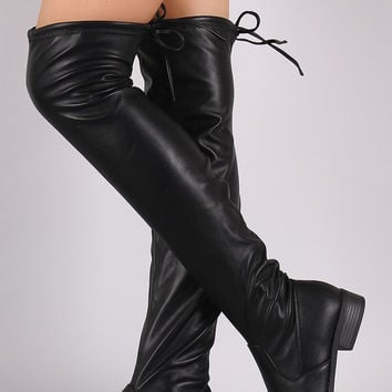 Fitted Leather OTK Lug Sole Boots