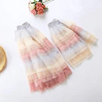 2018 Fashion Tutu Skirt Mom And Daughter Dress Multi-layer Pleat Rainbow Mommy And Me Clothes Fluffy Soft Tulle Matching Outfits