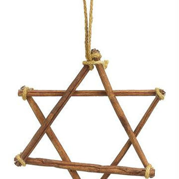 Star Of David Hanukkah Ornament - Made Entirely Of Cinnamon Sticks And Brown Twine