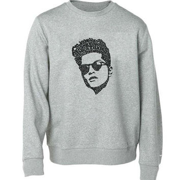 bruno mars sweater Gray Sweatshirt Crewneck Men or Women for Unisex Size with variant colour
