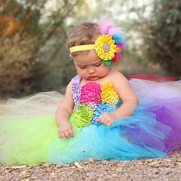 Rainbow Baby Girls Fancy Tutu Dress Holiday Flower Fluffy Baby Dress with Headband 1st Birthday Photo Costume TS092