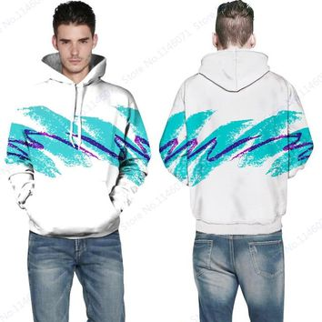 Sky Blue 3D Watercolor Pullover Hooded White Sports Skateboarding Hoodies Autumn Men's Leisure Sweatshirt Sudaderas Hombres