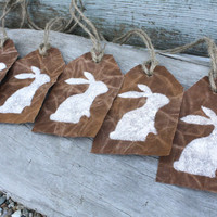 Waxed Canvas Easter Bunny Rabbit Basket Tags Decoration Signs Nutmeg