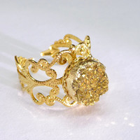 Druzy gold plated ring, gold druzy ring, classic glamor jewelry,bridesmaid gift,OOAK(D08R)