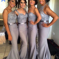 Grey Long Halter Bridesmaid Dress Wedding Party Dress With Appliques Beads Satin Wedding and Event Dress