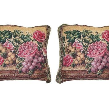 "Set of Two Romantic Parade of Fruit & Roses Floral Elegant Novelty Woven Square Throw Toss Accent Cushion Cover Pillow with Inserts - 18"" x 18"""