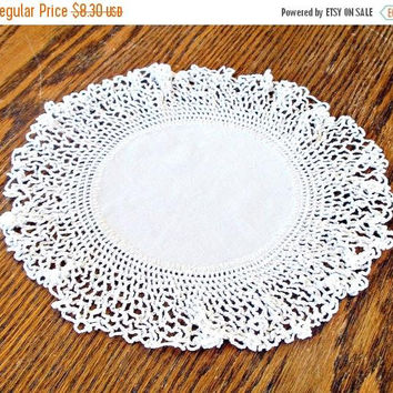 ON SALE Vintage Crocheted Doily, Handmade Round White Doily, French Farmhouse Decor.