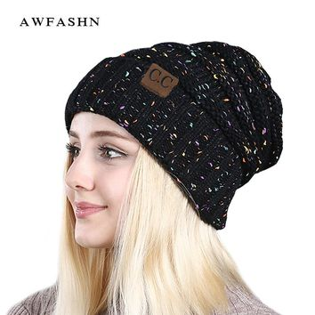 2017 New women hat CC fashion  Warm Winter For Women  Knitted Winter Hat Cap  Female  Beanies Caps Skullies Beanies 9259