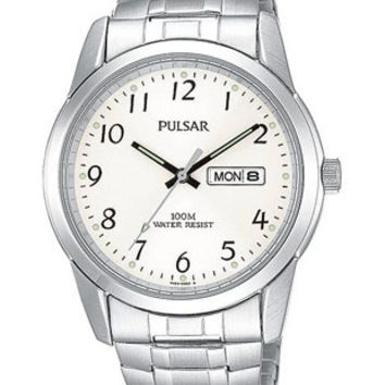 Pulsar Mens Day/Date Watch - Stainless with Expansion Band - Silver/White Dial
