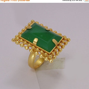 25% SALE Handmade Ring - Green Onyx Ring - Gold Vermeil Ring - Brass Ring - Party Wear Ring - Fashion Ring - Adjustable Ring - Womens Statem