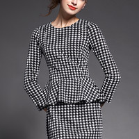 Black Houndstooth Peplum Dress