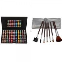 88 Color Matte Pearlescent Eyeshadow Palette + 7pcs Makeup Brush Set with Silver Bag Brown