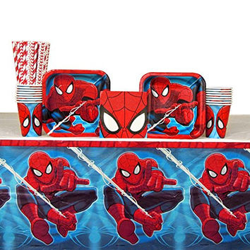 Spiderman Party Supplies Pack for 16 Guests: Straws, Plates, Napkins, Cups, and Table Cover (Bundle for 16)