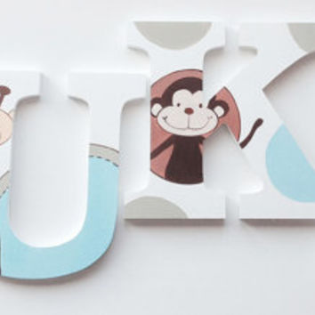 Zoo Fun Themed Wooden Wall Name Letters / Hangings, Hand Painted for Boys Rooms, Play Rooms and Nursery Rooms