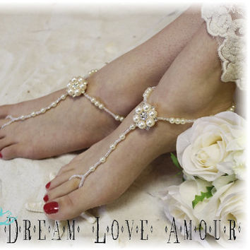 Chic French pearl Barefoot sandals elite Parisian style -bridal foot jewelry- boho beach wedding elegant -gold, golden -footless sandles B28