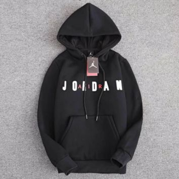 Jordan Fashion New Bust Letter Thick Keep Warm Couple Leisure Loose Couple Long Sleeve Hooded Sweater Black