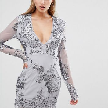 Missguided Long Sleeve Sequin Bodycon Dress at asos.com