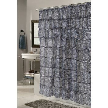 Carnation Home Fashions Carmen Zebra Print Crushed Voile Ruffle Tier Fabric Shower Curtain