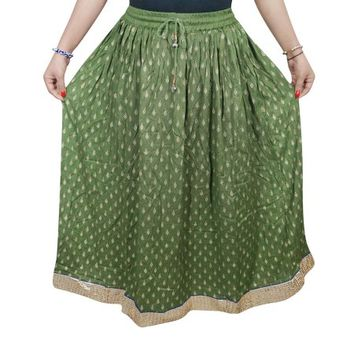 Mogul Women's Green Long Skirt A-Line Rayon Summer Fashion Holiday Skirts - Walmart.com
