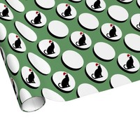 Polka Dots w Xmas Cat, Green/White Holiday Wrap