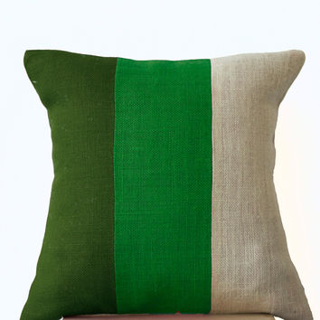 Chic Green Burlap Pillow -Throw Pillows color block- Decorative green cushion cover- Burlap Throw pillows -24x24 -Forest moss green pillows