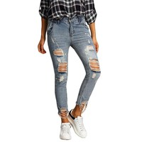Simplee Ripped Holes Light Blue Skinny Jeans