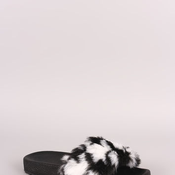 Liliana Panda Fur Lug Slide Sandals