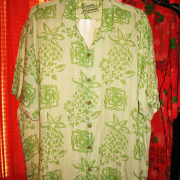Amazing Vintage Hawaiian Shirt TOMMY BAHAMA Green Pineapples Size 2XL  Very Collectible