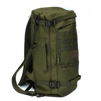 High quality 50L Canvas Outdoor sports Military Tactical Rucksack Camping Hiking Backpack climbing bag double shoulder Bag