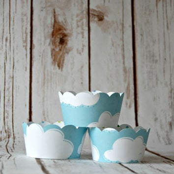 Cloud Cupcake Decorations, Reversible Cake Wraps, Blue Polka Dot Cupcake Wrappers (set of 6)