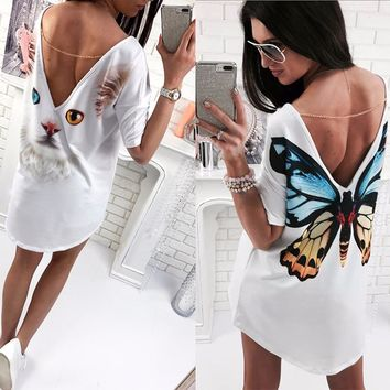 2018 Casual cat butterfly printed O Neck V backless short sleeve Loose white mini dress womens fashion dresses summer women