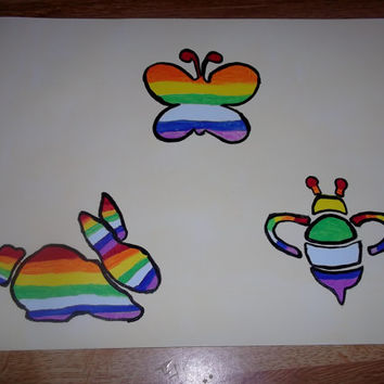 Bunny, Butterfly and Bee Abstract Rainbow Painting Nursery Art