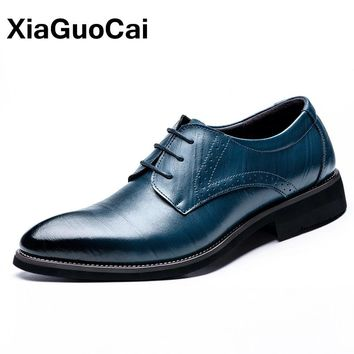 XiaGuoCai Luxury Business Men's Oxfords Shoe Spring Autumn Lace Up Pointed Toe Gentleman Dress Wedding Shoes Leather Footwear