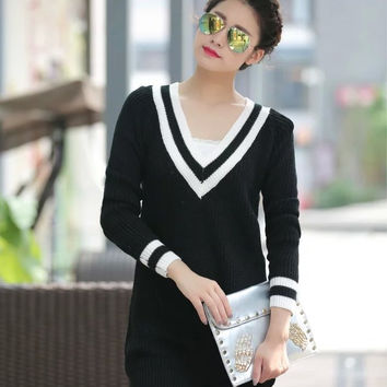 Korean Women's Fashion V-neck Long Sleeve Pullover Sweater [6513942599]
