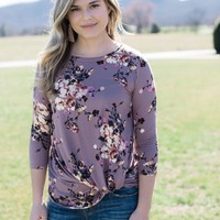 Delilah Knotted Top, Mauve