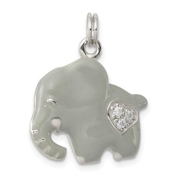 925 Sterling Silver Cubic Zirconia Grey Enameled Polished Elephant Charm and Pendant