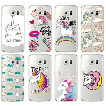 Cute Unicorn Rainbow Pizza Coffee Cartoon Quote Soft Clear Phone Case Cover Coque Fundas For Samsung Galaxy J5 A5 S6 S7 Edge S8
