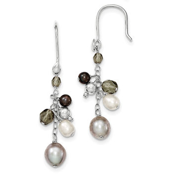 Sterling Silver FW Cultured Blue & White Pearl/Glass Cluster Dangle Ear QE9370